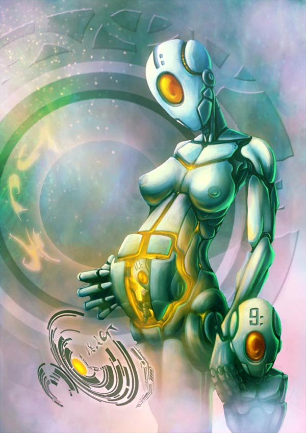 pregnant robot qith her little son